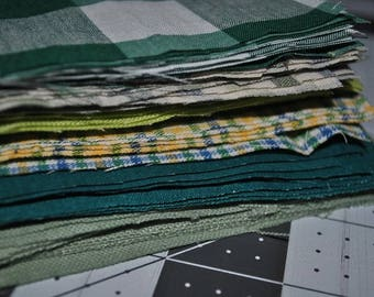 Pack of 60 Mixed Greens 5 Inch Squares scrap quilting