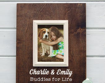 Personalized Dog Photo Frame, Dog and Child Frame, Dog Picture Frame, dog lover gift, mans best friend, 5X7 Picture Frame