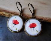 Red poppies, Red poppy earrings, Poppy jewelry earrings, Red flower earrings, Red poppies jewelry, Moms gift, Bronze glass earring, Red