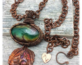 Australian Chrysoprase, Rare Gemstone, Handwoven Copper, Artisan Copper Leaf Face, Marta Weaver Jewelry, Free Shipping in USA