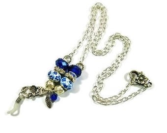 Blue Silver Eye Glass Lanyard Chain Unique Design