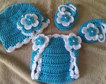 Baby Girl Infant Girl Crochet Hat Beanie Booties Diaper Cover Baby Shower Gift Photo Prop MADE TO ORDER