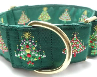 Green or Black with Embroidered Christmas Trees Ribbon Greyhound, Pit Bull, Great Dane, Saluki, Borzoi, Galga Martingale Collar