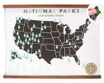 National Parks Map 18x24 With Tree Stickers
