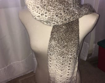 Crocheted Wave Scarf- Beige/White