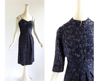20% off sale 1950s Cocktail Dress | Blauer Hof | Brocade Dress with Jacket | 50s Dress | XS