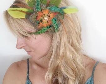 Cruelty Free Feather Fascinator, Hairpiece, Hair Clip, Hat Clip, Wedding, Festival, Renaissnce, Derby