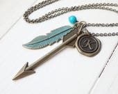 Vintage Style Arrow - Feather and Monogram Long Necklace