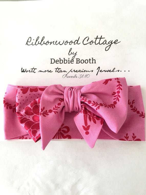Baby Head Wrap-Beautiful Pink and Red Jennifer Pagenelli fabric