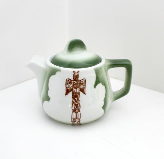 Vintage Mini Teapot, Green Jackson China Restaurant Tea Pot, Native, Totem Pole, NW Coast, Kalberer Hotel Supply