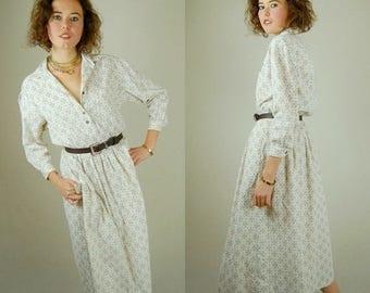 SALE 25% off sundays Preppy Cord Dress Vintage 90s Cotton Corduroy Foulard Preppy Slouchy Grunge Shirt Dress (s m)