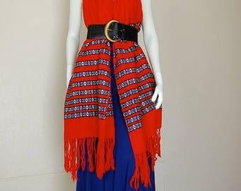 SALE 25% off sundays Fringe Shawl Vintage 70s Ethnic Guatemala Woven Tapestry Fringe Hippie Boho Serape Shawl (one size)