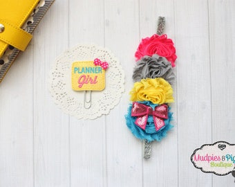 Summer Planner band or paper clip { Yellow planner Girl } Silver glitter, pink, yellow planner girl accessories bible band, baby headband
