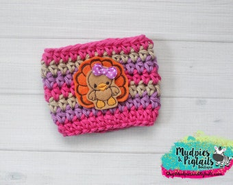 Coffee Cozy Crochet { Tracy Turkey } fushia purple orange coffee sleeve, Thanksgiving mug sweater, fall coffee cozy, ceramic or plastic cups