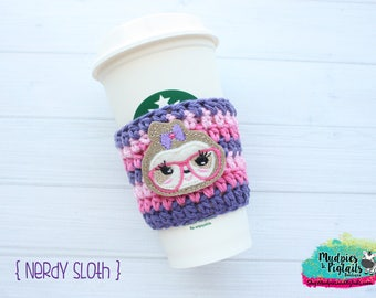 Crochet coffee cozy { Nerdy Sloth } nerd glasses, pink aqua, zoo gift, teacher gift, knit mug sweater, animal lover, cup sleeve