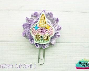 Planner Clip { Unicorn Cupcake } lavender metallic, gold birthday animal Paper Clips, Stationary, Planner Supplies, kikkik, happy planner