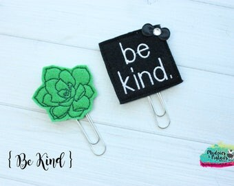 Planner Clip { Be kind } black, green, aesthetic, cactus succulent gold Paper Clips, Stationary, Planner Supplies, gift, parade, party