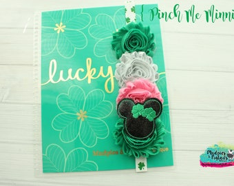 St Patrick's day Planner band { Pinch Me } green clover, glitter, mouse, planner girl accessories bible journaling band, baby headband