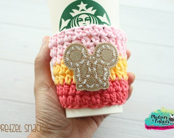 Pretzel Cup Cozy { Pretzel Snack } coral, pink, yellow, summer coffee sleeve, food, birthday, stocking stuffer, mug starbucks, crochet
