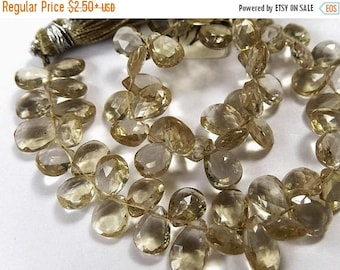 SALE Champagne Quartz  Gemstone. Faceted Pear Briolette, 8 mm. Semi Precious Gemstones.  Pairs or Non Match 1 to 9 Briolettes  (fqz)