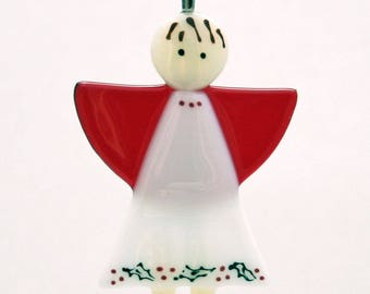 Glassworks Northwest - Christmas Angel - Fused Glass Ornament