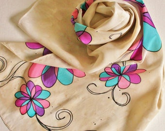 Hand Painted Silk Scarf - Handpainted Scarves Cream Tan Ivory Beige Floral Flowers Turquoise Blue Teal Purple Coral Pink Berry Magenta Black
