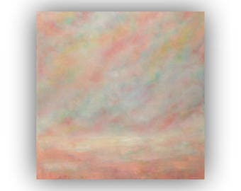 Abstract Landscape Oil Painting on Canvas- Large 36 x 36 Field Sky and Cloud Art- Peach Yellow and Blue Original Palette Knife Painting