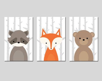 WOODLAND Nursery Art CANVAS or Prints Woodland Nursery Decor Forest Animals Nursery Art Canvas Set of 3 - Choose Your Animals, Size, Colors