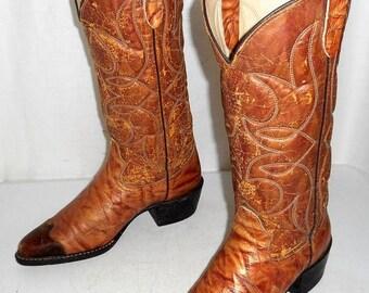 Vintage Bronco cowboy boots Distressed Tan mens size 6.5 D / womens 8 western shoes