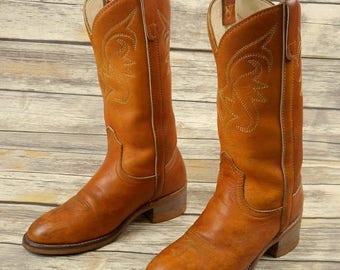 Womens 5.5 M Cowboy Boots Tan Brown Western Shoes Boho Country Petite Vintage