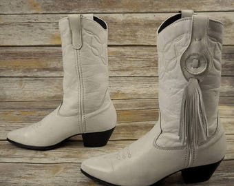 Womens Cowboy Boots White Leather Fashion Cowgirl Size 8 M Laredo Vintage Shoes