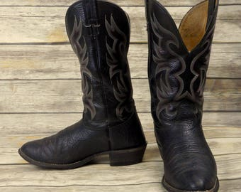 Mens 9 EE Cowboy Boots Nocona Wide Black Leather Western Rockabilly Distressed