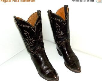 Tony Lama Rockabilly style cowboy boots - brown leather size 9.5 D or cowgirl size 11