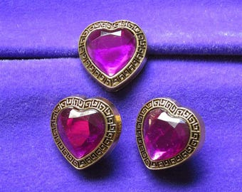 """3 Acrylic Buttons, Purple Heart Shaped Jewel with Gold Setting 7/8"""" wide Lightweight"""