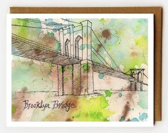 Brooklyn Bridge Card, Blank Card, NYC Souvenir, New York City Tourist, Brooklyn Lover, Single Card, Fun NYC Card, Brooklyn Art, Art Card