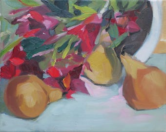 impressionist oil painting - impressionistic still life with flowers and pears - artist Linda Hunt abstract still life red flowers original