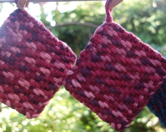"""Wool Pot Holder Set Pair of Pink Rose and Purple Small Wool Potholders or Trivets Natural Dye Hand Woven  Trivet 5 1/4"""" Wool"""