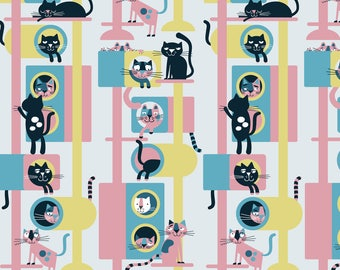 Cat Condo Fabric - Cat Condo (Pink) By Edward Elementary - Retro Cat Condo Cotton Fabric By The Yard With Spoonflower