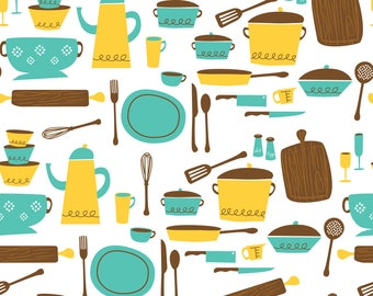 Delightful Retro Kitchen Fabric   Kitchen101 Yellow Turquoise By Retrorudolphs    Vintage Kitsch Kitchen Cook Cotton Fabric