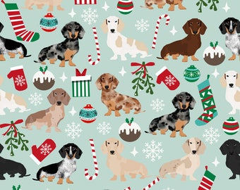Dachshund Fabric - Doxie Christmas Dachshunds Dog Xmas Holiday By Petfriendly - Dachshund Cotton Fabric by the Yard with Spoonflower