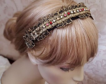 Royalty lace headband with Czech glass crystals, vintage gold lace Tiara wide headband, hair jewelry, floral lace headpiece for women