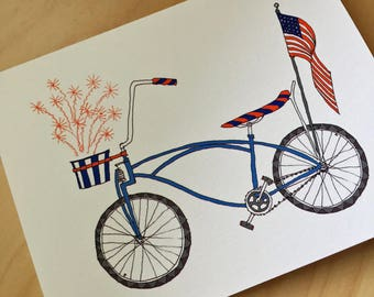 Independence Day Bike - July 4th bike - Patriotic Summertime Bike Card