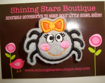 Girls Hair Accessories - Felt Hair Clips - Gray, Orange, and Black Embroidered Felt Halloween Spider With Bow Hair Clippie