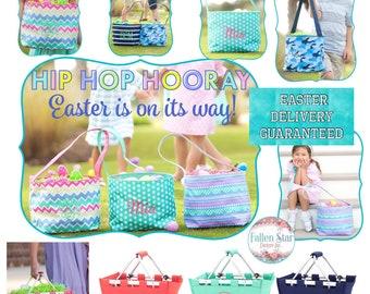 Personalized Easter Baskets  , Monogrammed Easter Basket  , Easter Bucket , Kids Egg Hunt Tote  , Girls Easter Basket , Boys Easter Basket