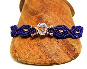 Purple Bling Skull and Crossbones Macrame Bracelet - Micro Macrame Bracelet  - Copper Skull with Crystals and Heart Shaped Eyes