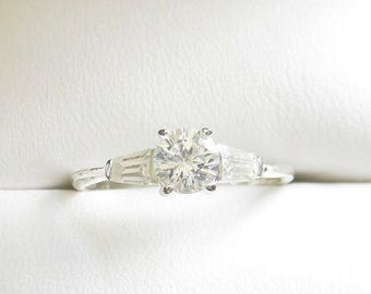 SALE Sterling Silver CZ Ring 925 Cubic Zirconia Size 7 Wedding Bridal Solitaire Vintage
