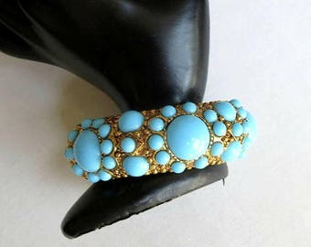 SALE Turquoise Blue Glass Cabochons Hinged Bracelet Vintage Clamper signed Graziano