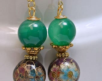 Vintage Chinese Purple Cloisonne Bead Dangle Drop Earrings, Vintage Emerald Green Chalcedony Beads ,Gold French Ear Wires - GIFT WRAPPED