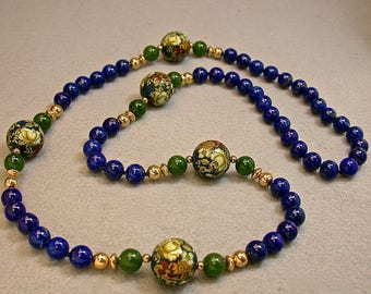 Vintage Lapis Lazuli Knotted Bead Necklace, Vintage Nephrite Jade Beads, Vintage Japanese Tensha Beads,Vintage Gold Beads - GIFT WRAPPED