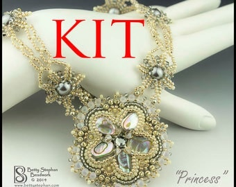 KIT- Princess Necklace cream and gold bead embroidered